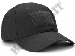 Military Operators Baseball Cap 3 Velcro Patch Panels Black Tactical